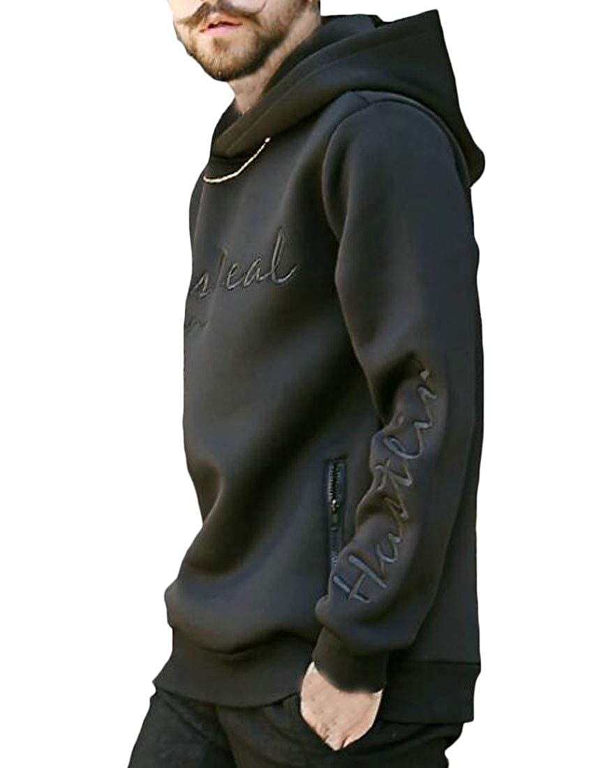 Blyent Mens Hipster Embroidery Slim Fit Hooded Letter Pullover Sweatshirts