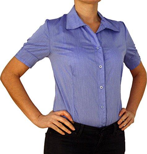 5260 Blouse Corps de la Femme, Blouses Corps, Coton, Manches Courtes, Solide, Bleu, XL/44!