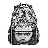 Women/Man Canvas Backpack African Woman Pencil Illustrations Vintage Zipper College School Bookbag Daypack