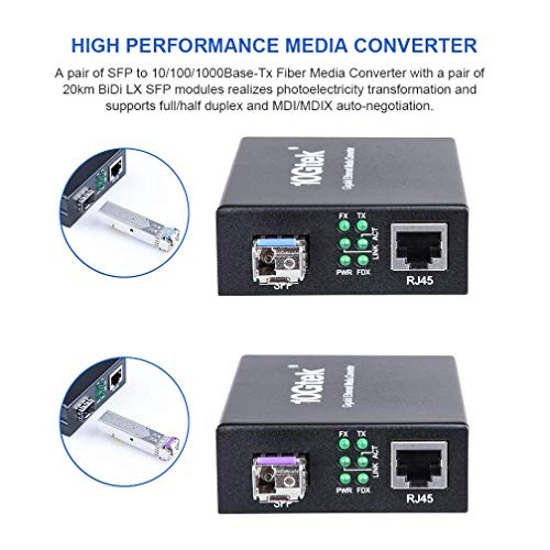 Gigabit Ethernet Media Converter, Singlemode LC Fiber, a Pair of 10/100/1000M Gigabit Ethernet Media Converter with a Pair of BiDi SFP LX Modules (1310/1550nm, 20km) by 10Gtek (Image #2)