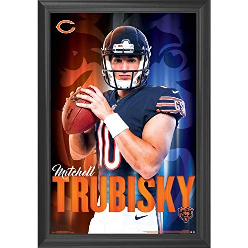 Mitchell Trubisky Chicago Bears Wall Art Decor Framed Print | 24x36 Premium (Canvas/Painting Like) Textured Poster | NFL Football Team Man Cave Photo | Memorabilia Fan Gifts for Guys & Girls Bedroom ()