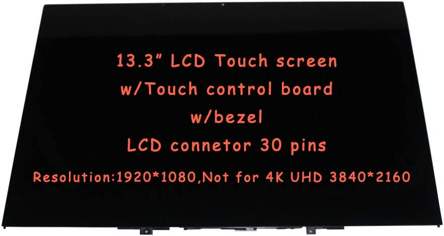 """FirstLCD FHD 13.3"""" Touch LCD Screen Replacement 5D10Q89746 Compatible for Lenovo Yoga 730-13IKB 81CT0008US 81CT Digitizer Glass LED Display Assembly w/Bezel 30pins"""