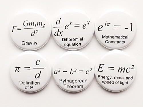1 inch Math refrigerator fridge magnets teacher gift home decor formulas geek nerd science Pi Day Equations