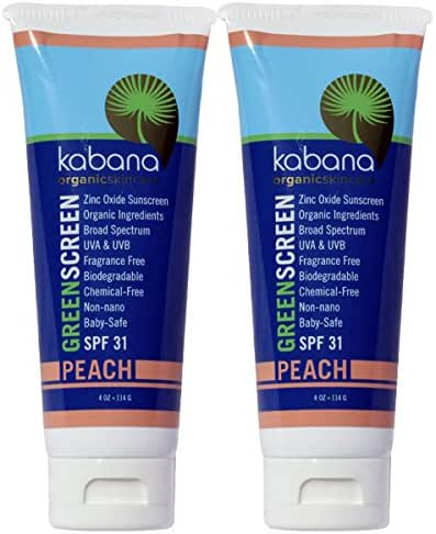 Green Screen Organic Sunscreen Zinc Oxide SPF 31 Tinted PEACH - Soy-Free - Vegan - Gluten-free - 8oz/230g As 2x4oz