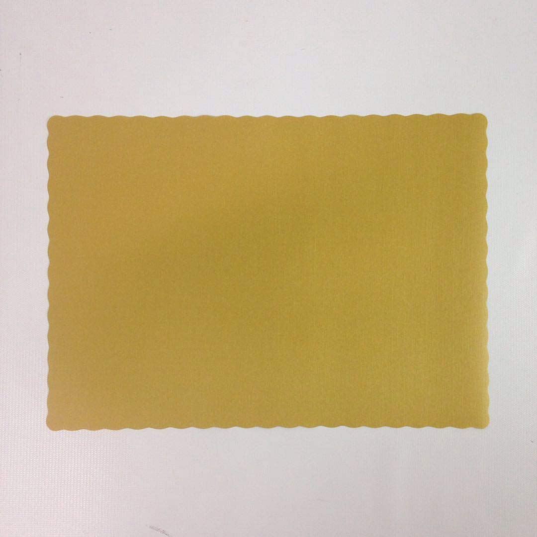 Black Cat Avenue 9 1/2'' x13 5/8'' Glittering Gold Paper Placemats for Tables Disposable Placemats with Scollaped Edges, 100 Count