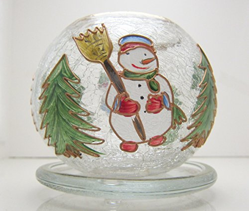 Fifth Avenue Crackled Crystal Glass Bowl with Plate Winter Snowman Christmas Tealite Candle Holder ()