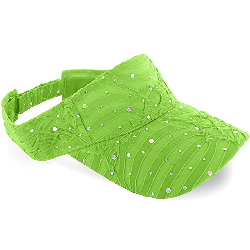 (Easy-W Lime_ 100% Polyester Glitter Visor Hat)