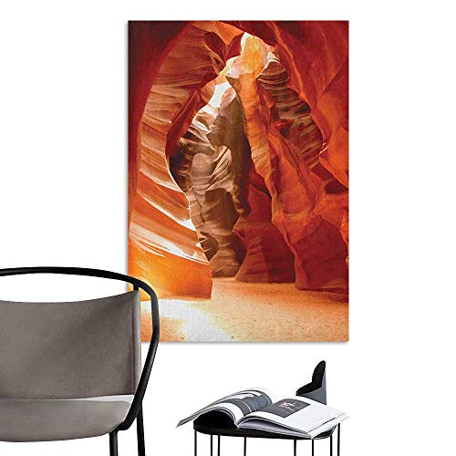 Canyon Headboard - 3D Murals Stickers Wall Decals Americana Grand Canyon Cave in Colorado Majestic USA Natural Landscape Picture Print Red Orange Brown Bedroom Wall W24 x H36