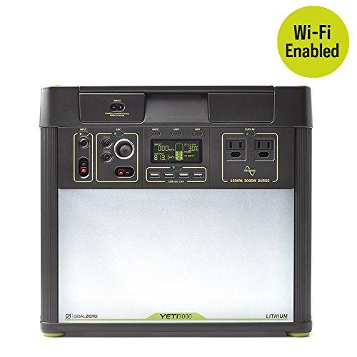 Goal Zero Yeti 3000 Lithium Portable Power Station with Wi-Fi, 3075Wh/280.8Ah Silent Gas Free Generator Alternative with 1500 Watt (3000 Watt Surge) AC Inverter, USB, 12V Outputs