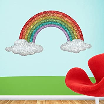 Rainbow Wall Stickers Decals   Girls Room Rainbow Wall Mural