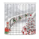 LB Christmas New Year Shower Curtains for Bathroom Christmas Tree Shower Curtain with Hooks Snow Candy Cane Tree Stairs Bathroom Decorations 72x78 inch Extra Long Polyester Fabric Waterproof