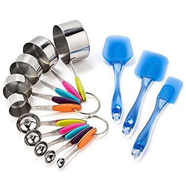 Stainless Steel Measuring Cups and Spoons with Translucent Blue Spatula Set (13 Piece Set) by AttainIt Home Goods. Treat Yourself to This Colorful Kitchen Set and Brighten Up Your Kitchen Today!