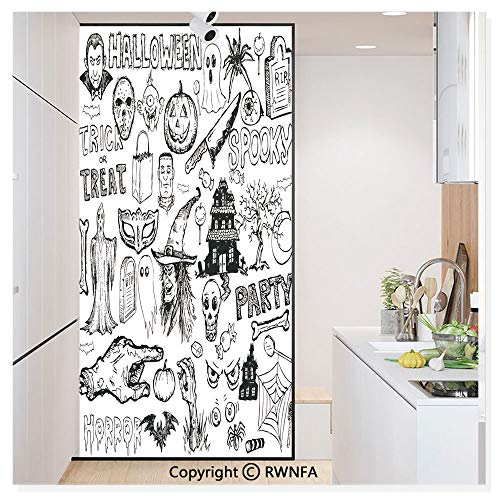 Decorative Privacy Window Film Hand Drawn Halloween Doodle Trick or Treat Knife Party Severed Hand No-Glue Self Static Cling for Home Bedroom Bathroom Kitchen Office,Black White ()