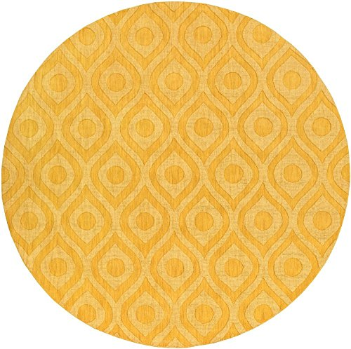 Artistic Weavers Solid/Striped Round Area Rug 6' Yellow Central Park (Zara Rug Collection)