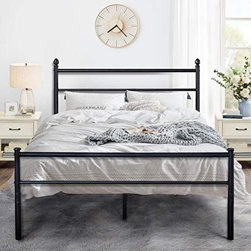 VECELO Metal Bed Frame Platform Mattress Foundation/Box Spring Replacement with Headboard & Footboard