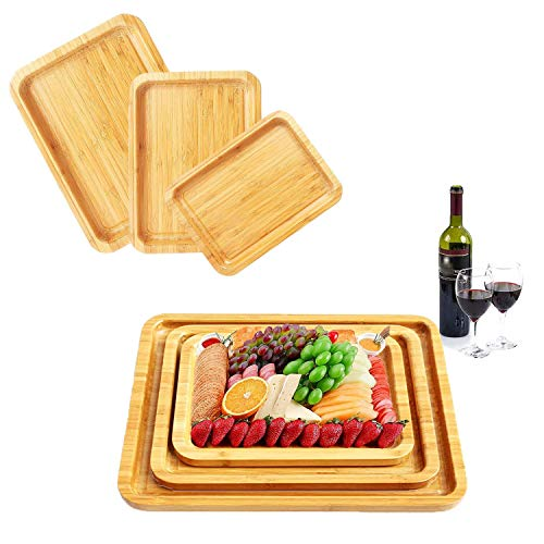 Bamboo Serving Trays 3pcs - Wooden Cheese Board Charcuterie Board That Nest Wood Platters for Fruit Snack Pastry Tea Coffee Ottoman Food Breakfast Tray Lunch Dinner Plates Steak Plate Appetizer Butle