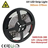 Ultraviolet LED Strip, LightingWill 365nm-370nm 16.4FT 24W 5M 12V SMD3528 300LEDs UV Ultraviolet Non-waterproof 8mm White PCB Flexible LED Strips 60LEDs 4.8W Per Meter, for UV Curing, Metal Crack