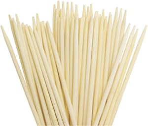 "L 7.9"" X D 3/16"" Candy Apple Corn Dog Semi Pointed Wooden Bamboo Sticks Long Skewers/Pack of 100"