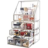 minopigo Antique Spacious Mirror Glass Drawers Set/Metal Cosmetic Makeup Storage/Stunning Jewelry Cube Organizer. It Consists of 4Separate Organizers Dustproof (04setSilver)