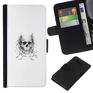 Protector de cuero de la PU de la cubierta del estilo de la carpeta del tirón BY RAYDREAMMM - Samsung ALPHA G850 - Diablo de cuernos Cráneo