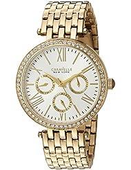 Caravelle New York Womens 44N109  Swarovski Crystal Gold Tone Watch