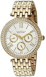 Caravelle New York Women's 44N109  Swarovski Crystal Gold Tone Watch
