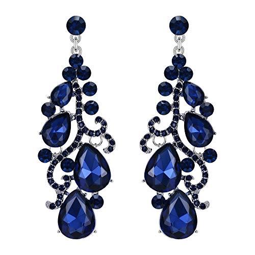 Flyonce Women's Austrian Crystal Wedding Bridal Floral Vine Teardrop Chandelier Earrings Blue Silver-Tone ()