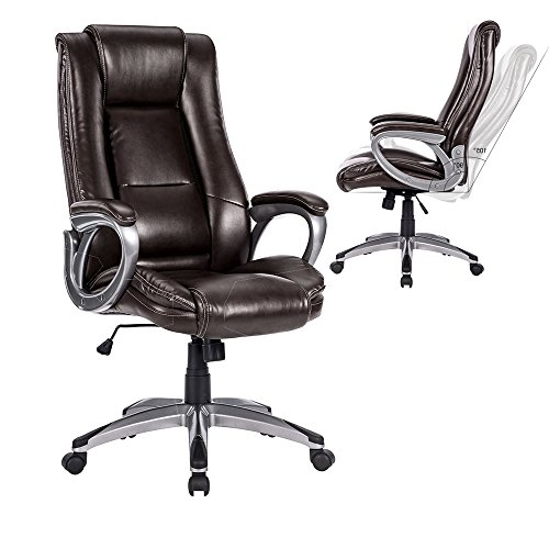 Multi Tilt Ergonomic Chair (LANGRIA High-Back PU Leather Office Chair Adjustable Executive Manager Swivel Computer Chair, Modern and Ergonomic Design, Well-Padded Armrests, Knee Tilt Mechanism, LROC-7263BR, Brown)