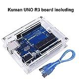 for Arduino , Kuman Uno R3 board ATmega328P + Uno R3 Case Enclosure New Transparent Gloss Acrylic Computer Box Compatible with Arduino UNO R3 W/ USB Cable K69