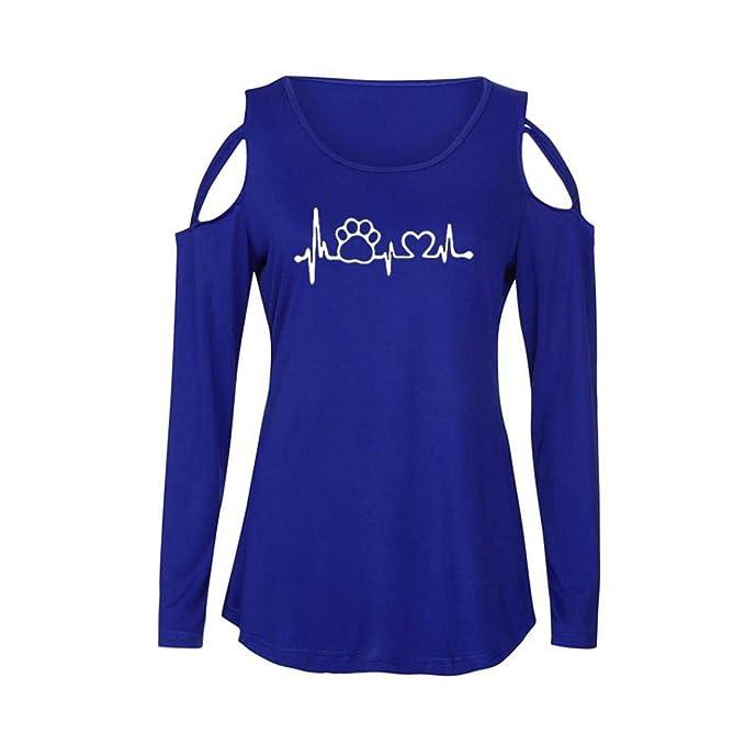 Bestow Camiseta Estampada de Manga Larga con Hombros Descubiertos para Mujer Camiseta con Hombros Descubiertos Blusas Casual Manga Larga: Amazon.es: Ropa y ...
