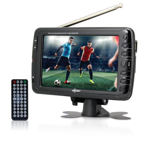 Axess 7-Inch AC/DC, LCD TV with ATSC Tuner, Rechargeable Battery and USB/SD Inputs, TV1703-7