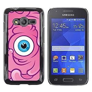 Caucho caso de Shell duro de la cubierta de accesorios de protección BY RAYDREAMMM - Samsung Galaxy Ace 4 G313 SM-G313F - Sponge Pink Character Eye Kids