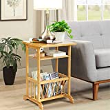 3 Tier Nightstand with Storage Basket, Bamboo End Table Sofa Side Table, Coffee Tea Table, Multifunctional Bamboo Beside Table, 15.7 x 15.7 x 23.6 inches
