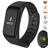 Bluetooth Smart Band wristband Heart Rate Blood Pressure Oxygen Monitor Waterproof OLED Touch Screen Pedometer Sedentary Reminder for ios iphone Android Phones (F- Black) For Sale