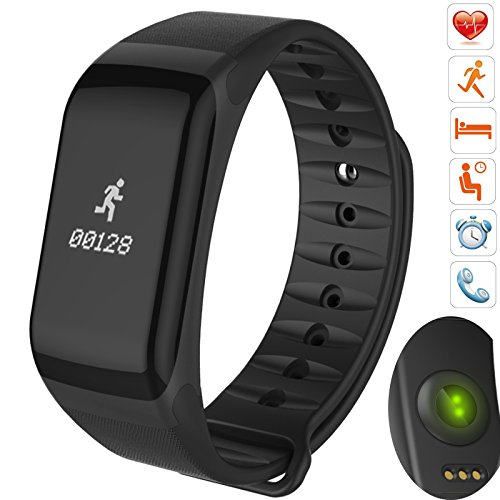 Bluetooth Smart Band wristband Heart Rate Blood Pressure Oxygen Monitor Waterproof OLED Touch Screen Pedometer Sedentary Reminder for ios iphone Android Phones (F- Black)