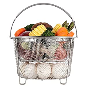 Aozita Steamer Basket for Instant Pot Accessories 6 qt or 8 quart – 2 Tier Stackable 18/8 Stainless Steel Mesh Strainer Basket – Silicone Handle – Vegetable Steamer Insert, Egg Basket, Pasta Strainer