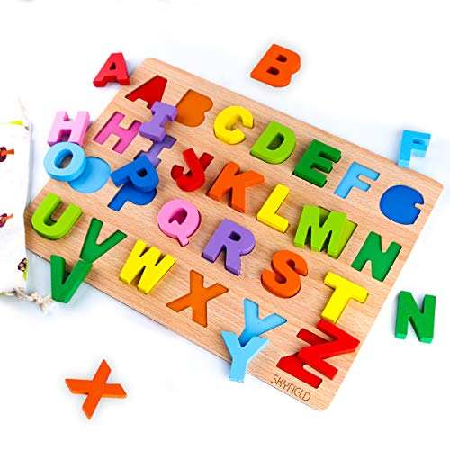 SKYFIELD Wooden Alphabet Puzzles, Abc Puzzle Board for Toddlers 2 - 6 Years Old,Preschool Boys & Girls Educational Learning Letter Toys, Sturdy Wooden Construction , 13.4'' L x 9.8'' (Alphabet Puzzle) ()