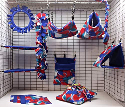 Sofun Pet Products 15 Piece Sugar Glider cage Pouch Set Double Layered - Sugar Blanket Fleece Glider