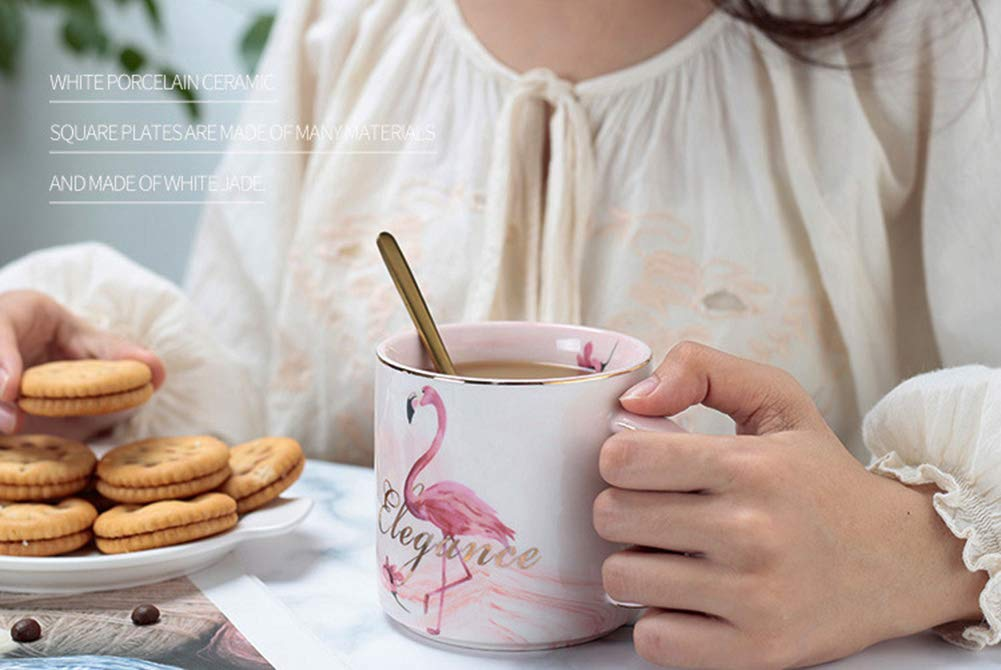 Pink Today you are as beautiful and elegant as ever Valentines Day present,Funny Gifts for Women Girls 11 Ounce Pink Flamingo Tea Cup HOOKDOR Ceramic Coffee Cup and Golden Spoon