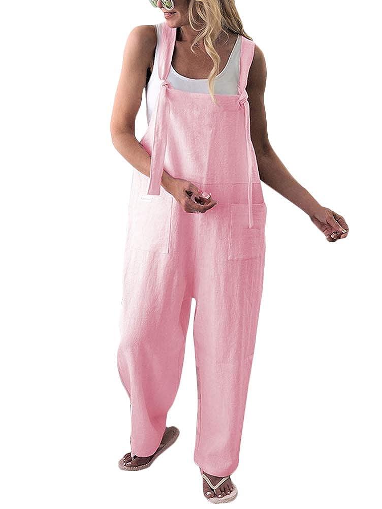 Mujer Minetom Mujer Petos De Pantalones Largos Casual Playa Fiesta Noche Coctel Mono Moda Suelto Bolsillos Jumpsuit Ropa Reskill Uom Gr