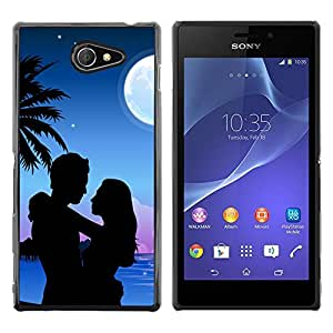 QCASE / Sony Xperia M2 / amor pareja playa romántica luna árbol de palma / Delgado Negro Plástico caso cubierta Shell Armor Funda Case Cover