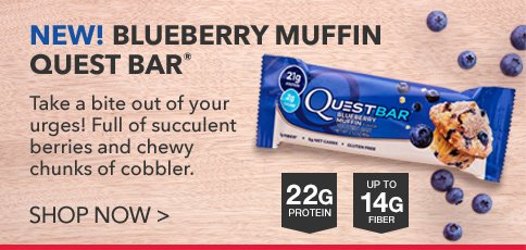 Quest Blueberry Muffin Protein Bar 21 G Protein Fruit Chunks net wt 25.4 OZ (pack of 24)