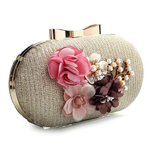 Beaded Gold EROUGE Glitter Designer Clutch Wedding Evening Floral Womens Fashion Purse Rhinestone Bags BB7Iq