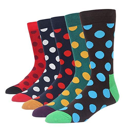 SOXART Men's Dress Socks 5-Pack Colorful Polka Dot Multi Fun Style for L:US Shoe Size 8-12 / Sock Size 10-13