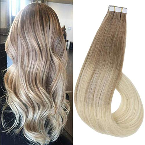 Ugeat 100% Human Hair Tape in Extensions 50g/20PCS Balayage Ombre Blonde Tape in Hair Extensions Human Hair 16inch Color #18 Blonde to #24 Blonde Remy Tape in Extensions