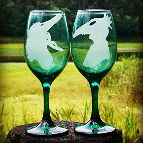 Beetlejuice Wine Glasses, hand engraved, Adam and Barbara wedding glasses, Hand Engraved glasses (Gothic Wedding Wine Glasses)