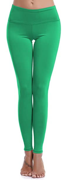33c9ac256c Aenlley Womens Athletic Yoga Pants with Hidden Pocket Workout Gym Spandex  Tights Leggings Color Green Size