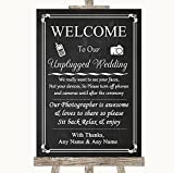 Chalk Style No Phone Camera Unplugged Personalized Wedding Sign