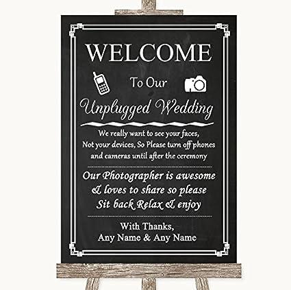 Tiza estilo personalizado sin teléfono cámara Unplugged boda ...