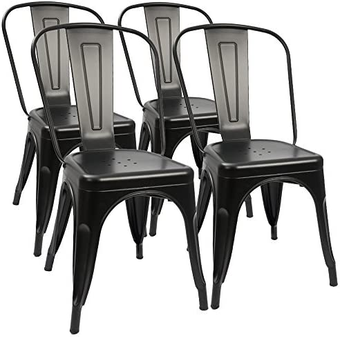 Furmax Metal Dining Chair Indoor-Outdoor Use Stackable Classic Trattoria Chair Chic Dining Bistro Cafe Side Metal Chairs Set of 4 Black